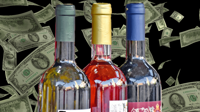 bottles and money